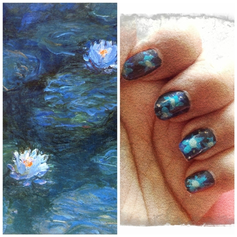 MonetWaterliliesImpressionistFloralManicureAttempt