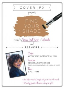 Chicago! Join Me At The Cover FX Find Your Shade Event October 30 at Sephora!