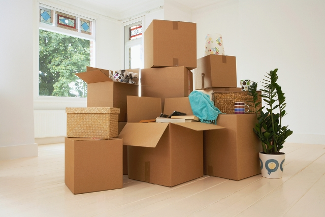 Photo of moving boxes via Shutterstock